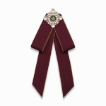Unisex Pearl Bow-knot Cloth Bow Tie Brooch Clothing Accessories, Style:Pin Buckle Version(Red Wine)