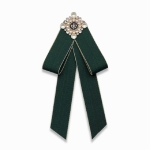 Unisex Pearl Bow-knot Cloth Bow Tie Brooch Clothing Accessories, Style:Pin Buckle Version(Army Green)