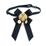 Women Vintage Flowers Diamond Bow-knot Bow Tie Shirt Brooch Clothing Accessories, Style:Tie Belts Version(Black)