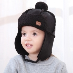 Autumn and Winter Warm Lambskin Bomber Hat Flight Cap for Children, Size:48-52cm(Black)