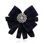 Women Diamond Pearl Multilayer Ribbon Bow-knot Bow Tie Clothing Accessories(Black)