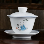 Ceramic Cover Bowl Royal Enamel Jingdezhen Sancai Tea Bowl Tea Set (Little Monk)