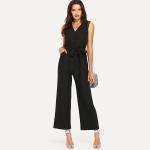 Fashion Sleeveless V-neck Strap Waist Wide Leg Pants Siamese (Color:Black Size:S)