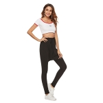 Solid Color Comfortable Casual Lace-up Crotch Yoga Pants (Color:Black Size:S)