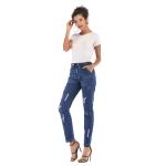 Fashion Casual Slim Hole Jeans (Color:Dark Blue Size:L)