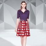 Half-open Collar Sweater + Fashion Print Skirt Two-piece Suit (Color:Purple Size:XXXL)