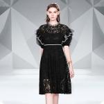 Fashion Lace Mesh Dress (Color:Black Size:M)