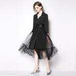 Fashionable and elegant Elegant Suit Long Sleeve Dress (Color:Black Size:S)