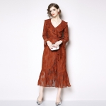 Elegant Mature Temperament Flounced Lace V-neck Long-sleeved Dress (Color:Red Size:M)