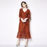 Elegant Mature Temperament Flounced Lace V-neck Long-sleeved Dress (Color:Red Size:L)