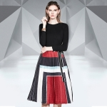 Long-sleeved Lace-up Sweater + Elastic Waist Pleated Skirt Suit (Color:Black Red Size:L)