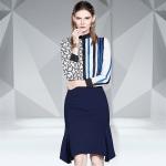Fashion Striped Shirt + Hip Fishtail Skirt Suit (Color:As Show Size:M)