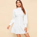 Elegant Temperament High-necked High-waist Lantern Sleeves Dress (Color:White Size:XL)