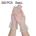 200 PCS Thicken Disposable Clear Food Grade PVC Powder-Free Insulation Waterproof Gloves, Size: L