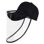 Anti-Saliva Anti-Spitting Anti-Fog Protective Baseball Cap Mask Removable(Black)