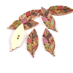 50 PCS Leaf Print Wooden Button Clothing Button