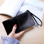 Women Zip Wallet Long Clutch Multi Card Holder Wallet Wrist Wallet(Black)