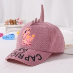 Autumn and Winter Cartoon Unicorn Dinosaur Embroidered Pattern Baseball Cap for Children, Suitable Age:2-4 Years Old(Pink)