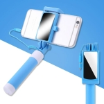 Mini Stainless Steel Folding Remote Control Selfie Stick with Rearview Mirror(Blue)