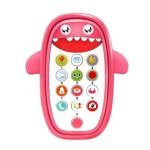 Children Intelligent Early Education Learning Baby Simulation Mobile Phone Toy, English Version(Pink)
