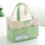 Portable Aluminum Foil Lunch Box Bag Cartoon Thick Insulation Bag Canvas Lunch Bag(Green)