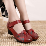 Women Shoes Leather Square Heel Shoes, Size:39(Red)