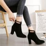 Women Shoes Suede Boots Pointed High Heels, Size:35(Black)