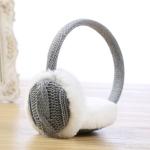 Autumn and Winter Ladies Wild Rabbit Fur Warm Earmuffs, Size:One Size(Gray)
