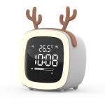 Cartoon Deer Shape Children Snooze Multifunctional USB Rechargeable Student LED Alarm Clock(Gray)