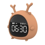 Creative Cartoon Elf Student Big Display Bedside Alarm Clock(Deer)