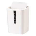 Mini Office Coffee Table Desktop Plastic Shake Lid Storage Trash Can(White)