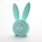 Cute Rabbit Silicone Induction Small Alarm Clock(Green)
