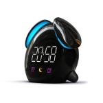 Creative Cartoon Dog Time Voice Broadcast Intelligent Induction Multifunctional Alarm Clock, Style:Alarm Clock(Black)