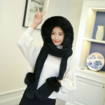 Autumn and Winter One-piece Warm Scarf Gloves Bomber Hats for Women, Size:One Size(Black)