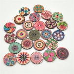 100 PCS Two-hole Round Printed Wooden Buttons DIY Clothing Buttons, Size:15 mm(Random Color Delivery)