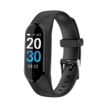 IK08 Black Frame 0.96 inch IPS Screen Waterproof Smart Watch Smart Bracelet, Support Bluetooth V4.0 / Call Reminder / Heart Rate Monitoring / Blood Pressure Monitoring / Remote Camera(Black)