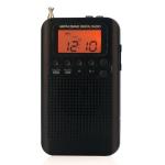 HRD-104 Mini Portable FM + AM Two Band Radio with Loudspeaker (Black)