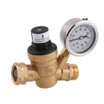 M11-0660R Car Water Pressure Regulator Valve Brass Lead-free Adjustable Water Pressure Reducer with Gauge