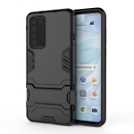 For Huawei P40 PC + TPU Shockproof Protective Case with Holder(Black)