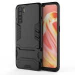 For OPPO A91 PC + TPU Shockproof Protective Case with Holder(Black)