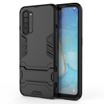 For OPPO Reno3 PC + TPU Shockproof Protective Case with Holder(Black)
