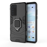 For Huawei P40 PC + TPU Shockproof Protective Case with Magnetic Ring Holder(Black)