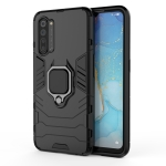 For OPPO Reno3 PC + TPU Shockproof Protective Case with Magnetic Ring Holder(Black)