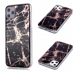 For iPhone 11 Pro Max Plating Marble Pattern Soft TPU Protective Case(Black Gold)