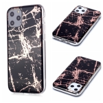 For  iPhone 11 Pro Plating Marble Pattern Soft TPU Protective Case(Black Gold)