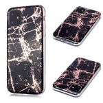 For iPhone 11 Plating Marble Pattern Soft TPU Protective Case(Black Gold)