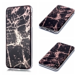For iPhone XS Max Plating Marble Pattern Soft TPU Protective Case(Black Gold)