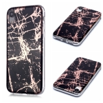 For iPhone XR Plating Marble Pattern Soft TPU Protective Case(Black Gold)