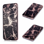 For iPhone 7 Plus / 8 Plus Plating Marble Pattern Soft TPU Protective Case(Black Gold)