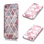 For iPhone 6 Plus / 6s Plus Plating Marble Pattern Soft TPU Protective Case(Pink)